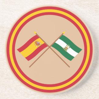 Banderas cruzadas de España y de Andalucía Posavasos Cerveza