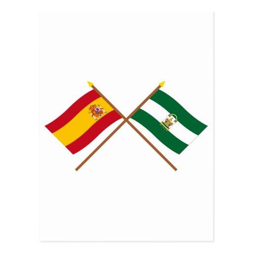 Banderas cruzadas de España y de Andalucía Tarjeta Postal