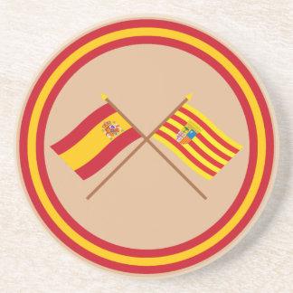 Banderas cruzadas de España y de Aragón Posavasos Manualidades