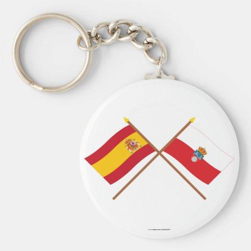Banderas cruzadas de España y de Cantabria Llavero Personalizado