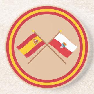 Banderas cruzadas de España y de Cantabria Posavasos Cerveza