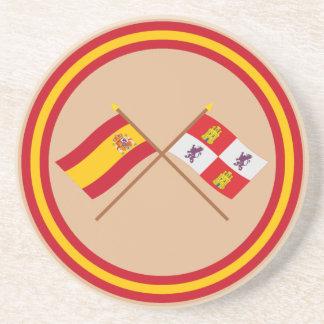 Banderas cruzadas de España y de Castilla y León Posavasos Manualidades