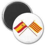 Banderas cruzadas de España y de Cataluña Imán Para Frigorífico
