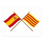 Banderas cruzadas de España y de Cataluña Postales