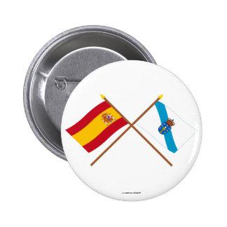 Banderas cruzadas de España y de Galicia Pins