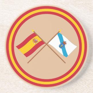 Banderas cruzadas de España y de Galicia Posavasos Para Bebidas