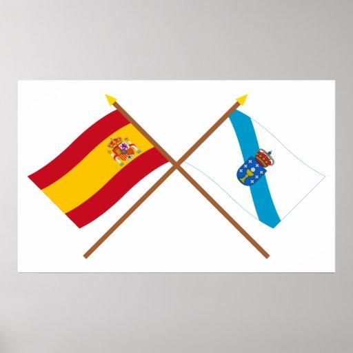 Banderas cruzadas de España y de Galicia Póster