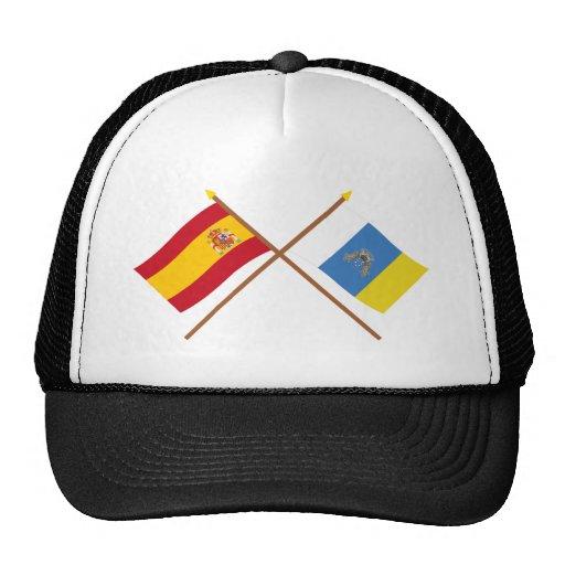 Banderas cruzadas de España y de las islas Canaria Gorro