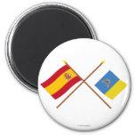 Banderas cruzadas de España y de las islas Canaria Iman