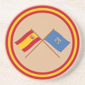 Banderas cruzadas de España y de Melilla Posavasos De Arenisca