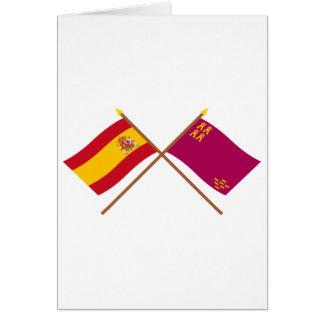 Banderas cruzadas de España y de Murcia Tarjeta De Felicitación