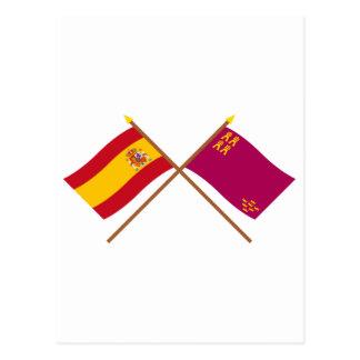 Banderas cruzadas de España y de Murcia Postal