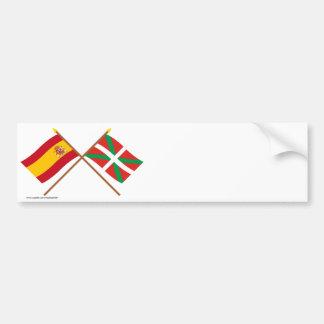 Banderas cruzadas de España y de País Vasco (Euska Pegatina De Parachoque