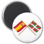 Banderas cruzadas de España y de País Vasco (Euska Imán Redondo 5 Cm