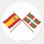 Banderas cruzadas de España y de País Vasco (Euska Pegatina Redonda