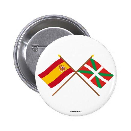 Banderas cruzadas de España y de País Vasco (Euska Pin