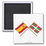 Banderas cruzadas de España y de País Vasco Imán Cuadrado