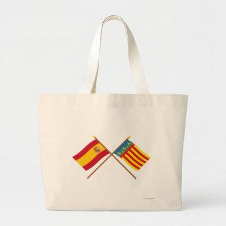 Banderas cruzadas de España y de Valencia Bolsa De Mano