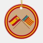 Banderas cruzadas de España y de Valencia Ornamento Para Reyes Magos