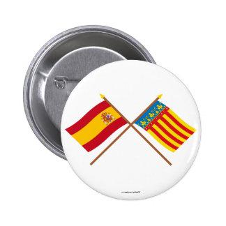 Banderas cruzadas de España y de Valencia Pins