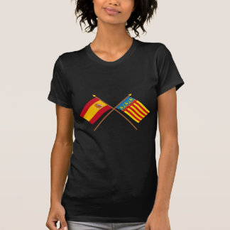 Banderas cruzadas de España y de Valencia Camisetas