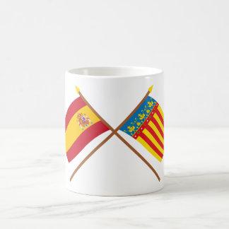 Banderas cruzadas de España y de Valencia Taza