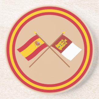 Banderas cruzadas de España y del Castilla-La Manc Posavasos Manualidades