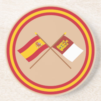 Banderas cruzadas de España y del Castilla-La Posavasos Manualidades