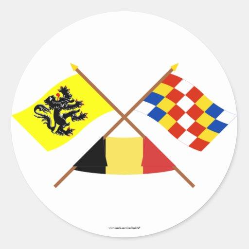 Banderas cruzadas de Flandes y de Amberes con Pegatina Redonda