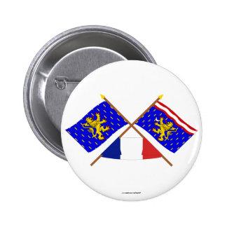 Banderas cruzadas de Franche-Comté y de Haute-Saôn Pins