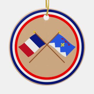 Banderas cruzadas de Francia y de Alpes-de-Haute-P Ornaments Para Arbol De Navidad