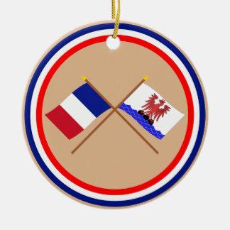 Banderas cruzadas de Francia y de Alpes-Maritimes Ornato