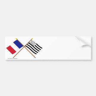 Banderas cruzadas de Francia y de Bretaña Pegatina Para Auto