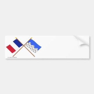 Banderas cruzadas de Francia y de Côtes-d Armor Pegatina De Parachoque