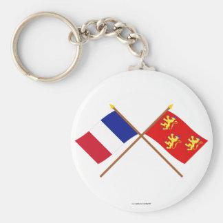 Banderas cruzadas de Francia y de Dordoña Llavero Redondo Tipo Pin