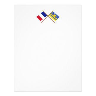 Banderas cruzadas de Francia y de Doubs Plantilla De Membrete