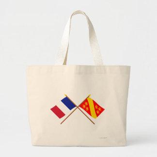Banderas cruzadas de Francia y de Haut-Rhin Bolsas