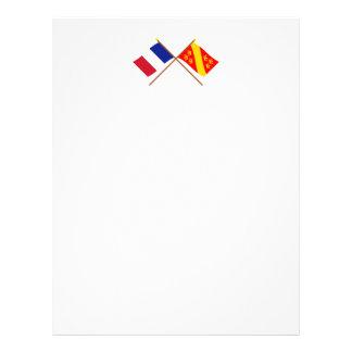 Banderas cruzadas de Francia y de Haut-Rhin Membrete A Diseño