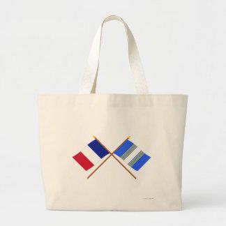 Banderas cruzadas de Francia y de Haute-Marne Bolsa Lienzo