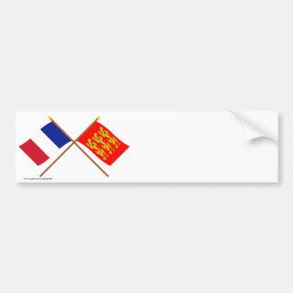 Banderas cruzadas de Francia y de Haute-Normandie Pegatina Para Auto