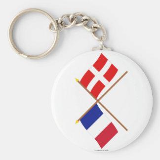 Banderas cruzadas de Francia y de Haute-Saboya Llavero Redondo Tipo Pin