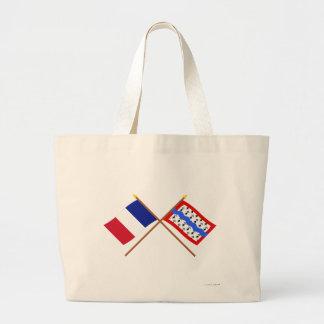 Banderas cruzadas de Francia y de Haute-Vienne Bolsa Lienzo