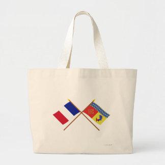 Banderas cruzadas de Francia y de Hautes-Alpes Bolsas Lienzo