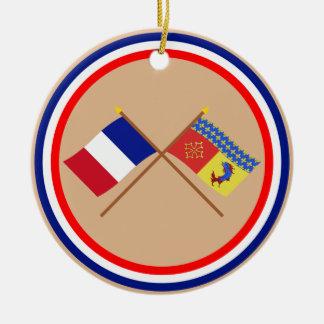 Banderas cruzadas de Francia y de Hautes-Alpes Adorno Para Reyes