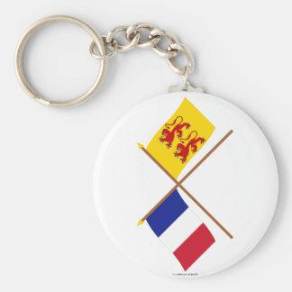 Banderas cruzadas de Francia y de Hautes-Pyrénées Llavero Redondo Tipo Pin