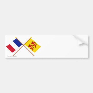 Banderas cruzadas de Francia y de Hautes-Pyrénées Pegatina Para Auto