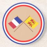 Banderas cruzadas de Francia y de Hautes-Pyrénées Posavasos Manualidades