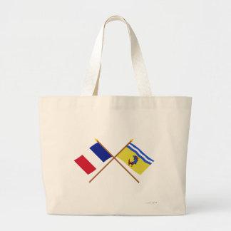 Banderas cruzadas de Francia y de Isère Bolsa De Mano