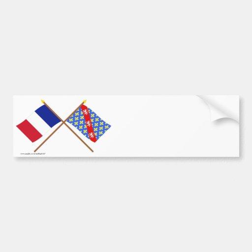Banderas cruzadas de Francia y de la Creuse Pegatina Para Auto