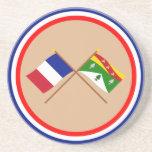 Banderas cruzadas de Francia y de los Vosgos Posavasos Cerveza